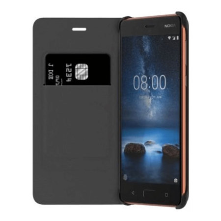 Official Nokia 8 Leather Flip Wallet Case - Tan Brown