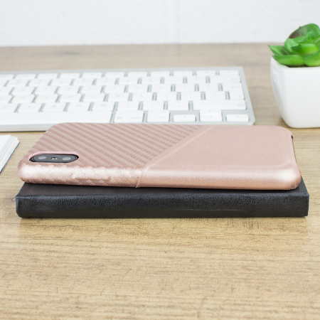 olixar iphone x carbon fibre card pouch case - rose gold