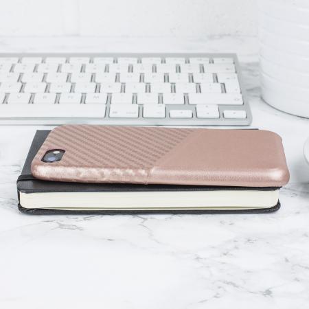 olixar iphone 8 / 7 carbon fibre card pouch case - rose gold