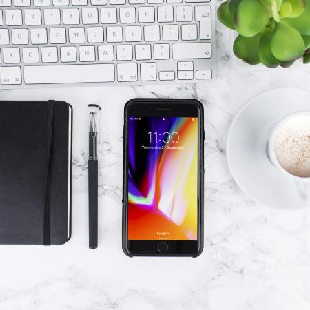 Olixar iPhone 8 Plus / 7 Plus Carbon Fibre Card Pouch Case - Black