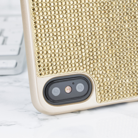 lovecases luxury crystal iphone x case - gold