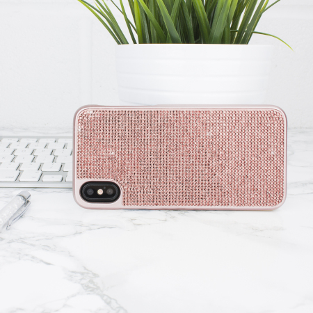 iphone x case - rose gold - lovecases luxury crystal