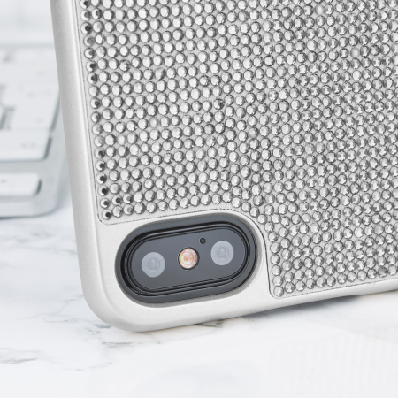 lovecases luxury crystal iphone x case - silver