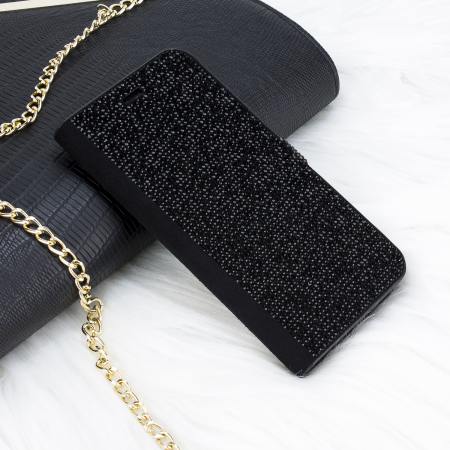 iphone x wallet case - lovecases luxury diamond glitter black