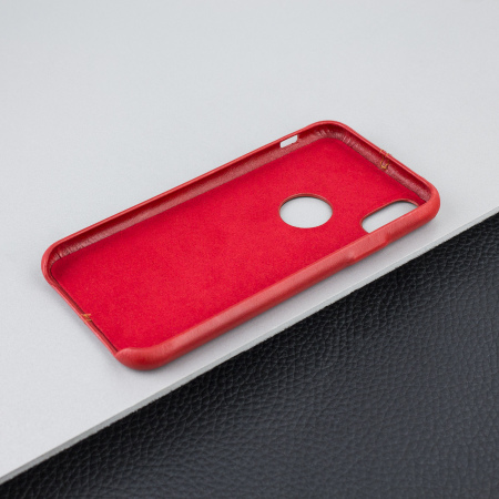 iphone x leather case - olixar premium slim - red