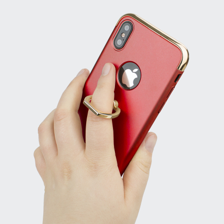olixar xring iphone x finger loop case - red