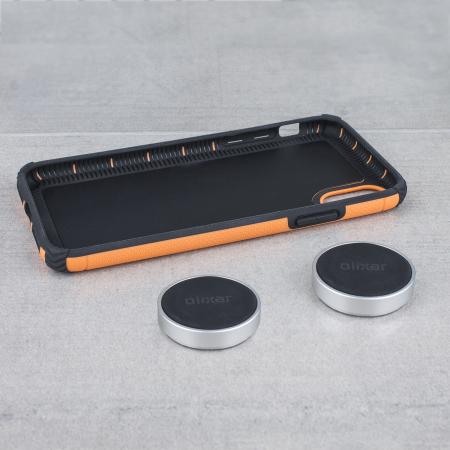 olixar magnus iphone x case and magnetic holders - orange