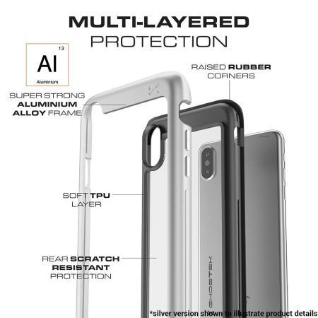 ghostek atomic slim iphone x tough case - silver