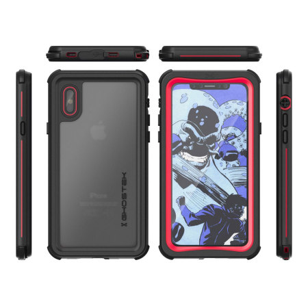 ghostek nautical series iphone x waterproof case - red