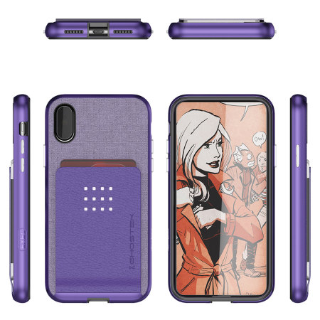 ghostek exec series iphone x wallet case - purple