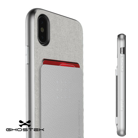 ghostek exec series iphone x wallet case - silver