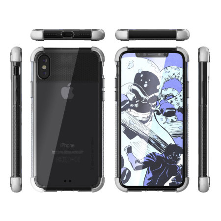 ghostek covert 2 iphone x bumper case - clear / white