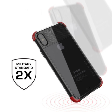 ghostek covert 2 iphone x bumper case - clear / red