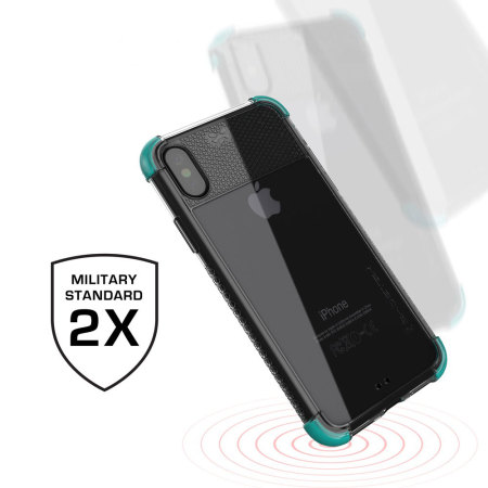 ghostek covert 2 iphone x bumper case - clear / teal
