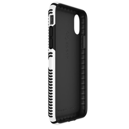speck presidio grip iphone x tough case - black / white