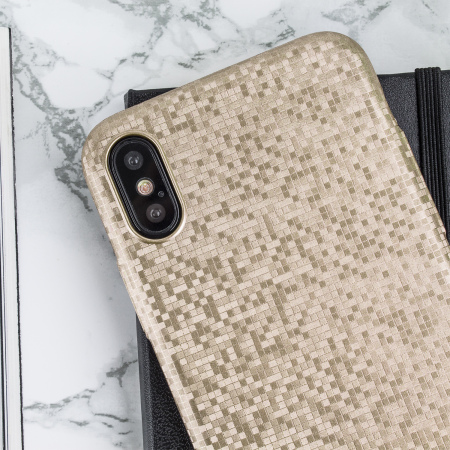 lovecases check yo self iphone x case - shimmering gold