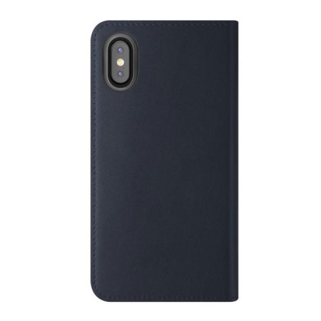 vrs design genuine leather diary iphone x case - navy