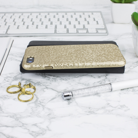 lovecases check yo self iphone 8 / 7 case - shimmering gold