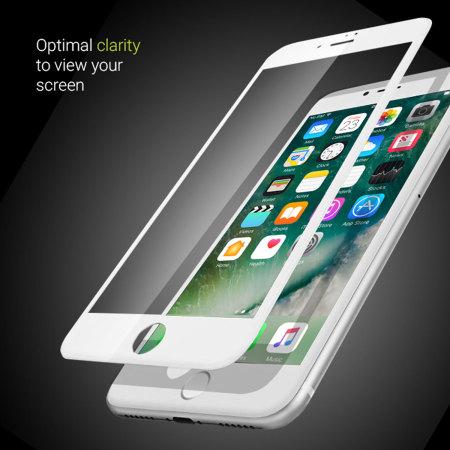 Olixar iPhone 8 Plus Edge to Edge Glass Screen Protector - White