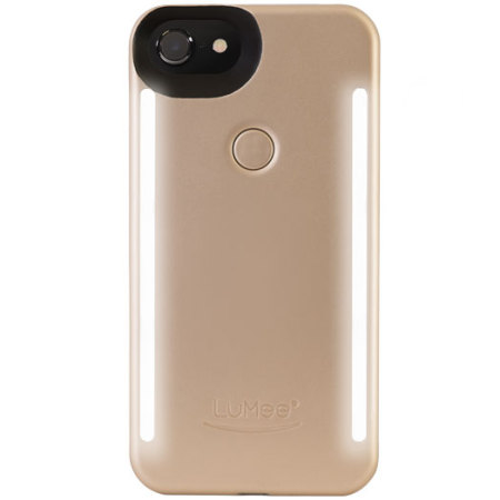 lumee duo iphone 8 double-sided lighting case - gold