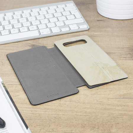 Olixar Slim Genuine Leather Samsung Galaxy Note 8 Wallet Case - Black