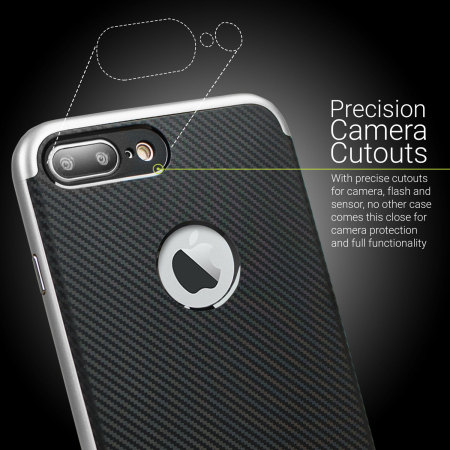 Olixar X-Duo iPhone 8 Plus Case - Carbon Fibre Silver