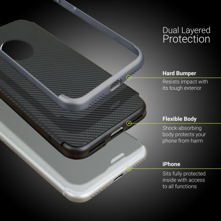 iphone 8 plus olixar xduo case - carbon fibre metallic grey