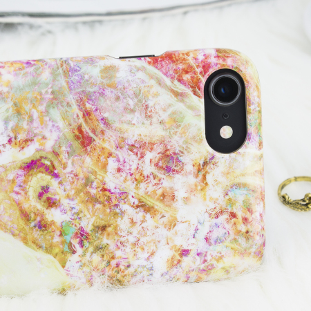 lovecases marble iphone 8 / 7 case - opal gem yellow