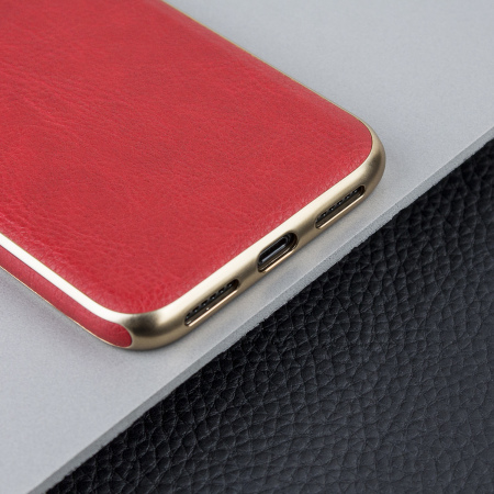 olixar makamae leather-style iphone x case - red