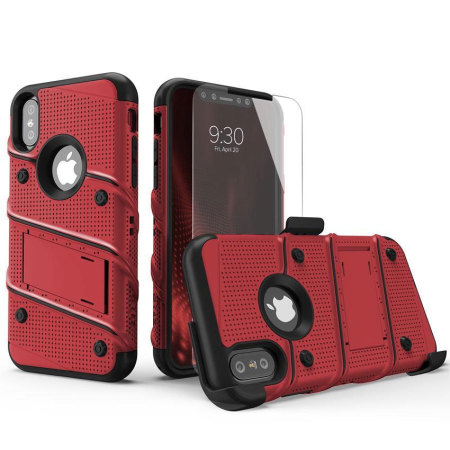 Zizo Bolt iPhone X Tough Case & Screen Protector - Red / Black