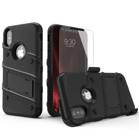 zizo bolt iphone x tough case & screen protector - black