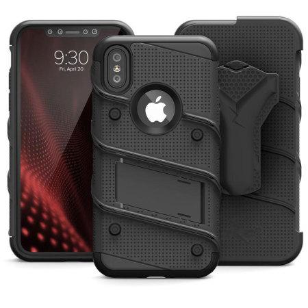 Zizo Bolt Series iPhone X Tough Case & Belt Clip - Black / Black