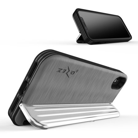 zizo retro iphone x wallet stand case - silver