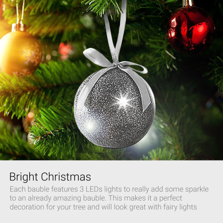 Recordable Message Christmas LED Glitter Bauble - Red