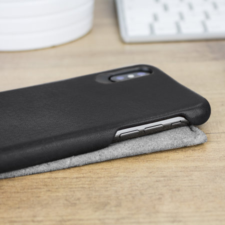 vaja grip iphone x premium leather case - black
