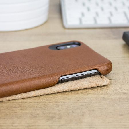 vaja grip iphone x premium leather case - tan