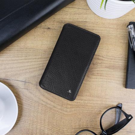 Funda iPhone X Vaja Wallet Agenda de Piel - Negra