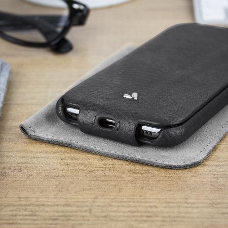 vaja top flip iphone x premium leather flip case - black