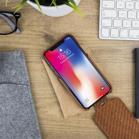 vaja top flip iphone x premium leather flip case - tan