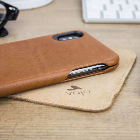 vaja top flip iphone x premium leather flip case - tan