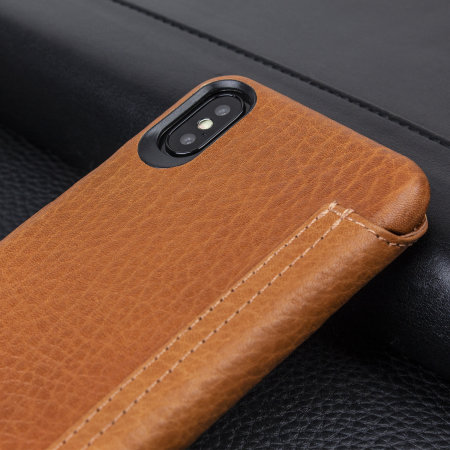 vaja agenda mg iphone x premium leather flip case - tan