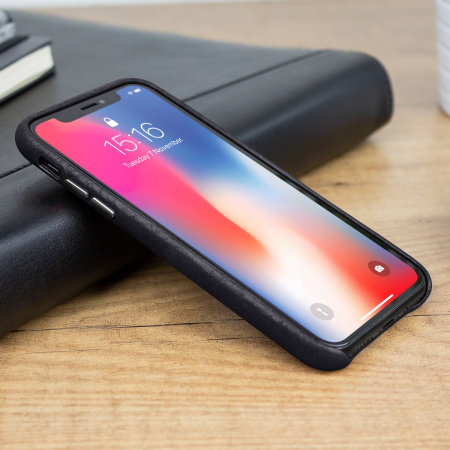 vaja grip slim iphone x premium leather case - black