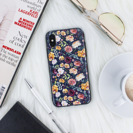 lovecases floral art iphone x case - black