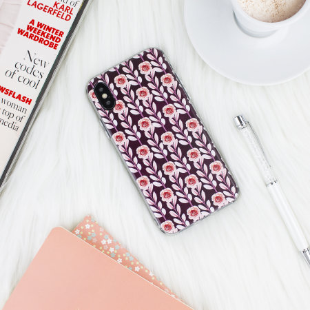lovecases floral art iphone x case - maroon
