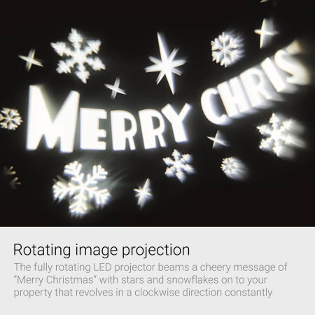 Merry Christmas Outdoor LED Image Projector - White Light