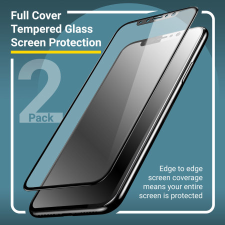 Olixar iPhone X EasyFit Full Cover Glass Screen Protector - 2 Pack