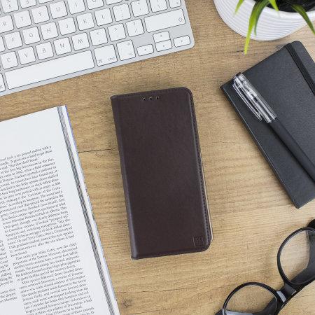 Olixar Genuine Leather OnePlus 5T Executive Wallet Case - Brown