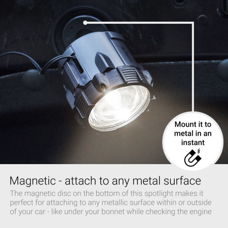 Type S Car Magnetic Emergency Spotlight - Charcoal Grey