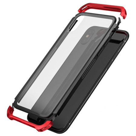 iphone x bumper case - luphie metal and tempered glass - red / black