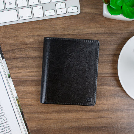 Leather-Style RFID Blocking Card Holder & Wallet - Black